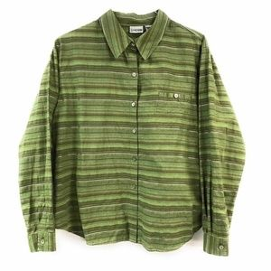 Chico's Womens Button Down Shirt Green Striped Lon